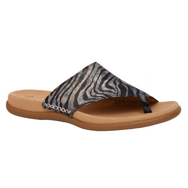 Details zu Gabor Zehentrenner Flip Pantoletten Zebra Safari bluette 23.700.30 Leder NEU